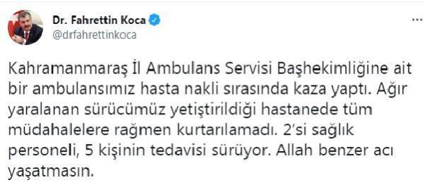 Son dakika haberleri: Kahramanmaraş'ta ambulans kaza yaptı: 1 ölü, 2'si sağlık personeli 5 yaralı